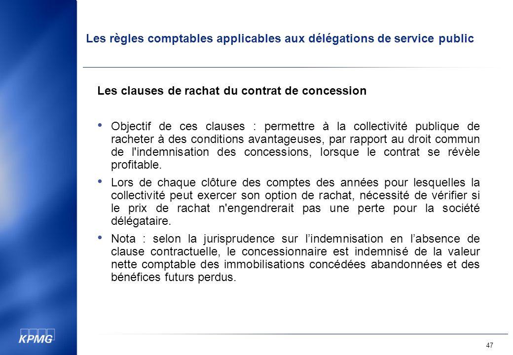 Les clauses de rachat du contrat de concession