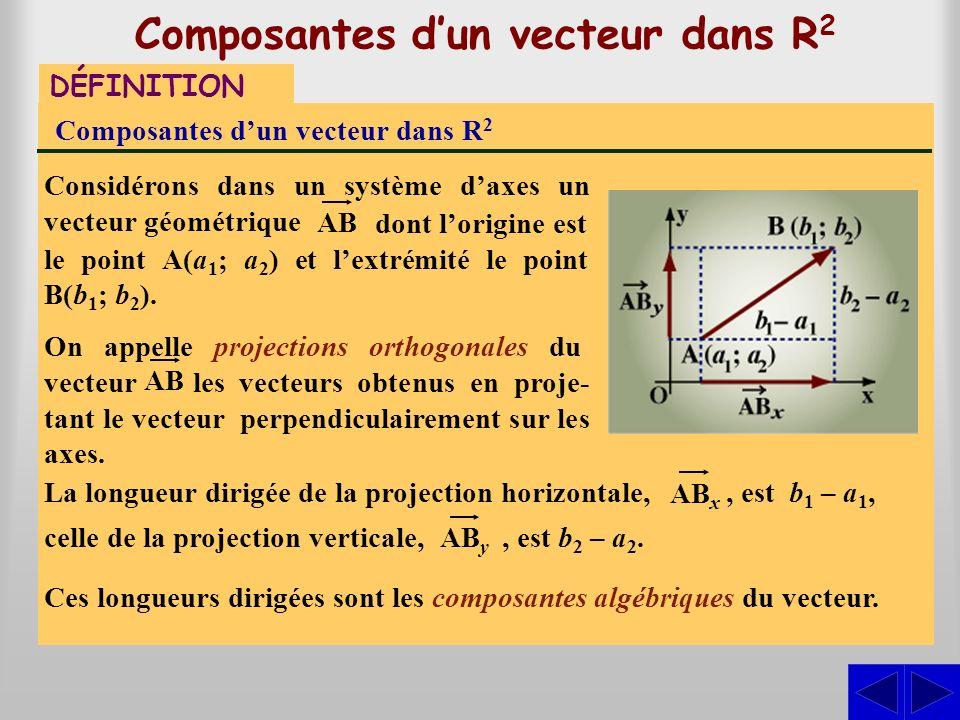 Composantes d'un vecteur dans R2