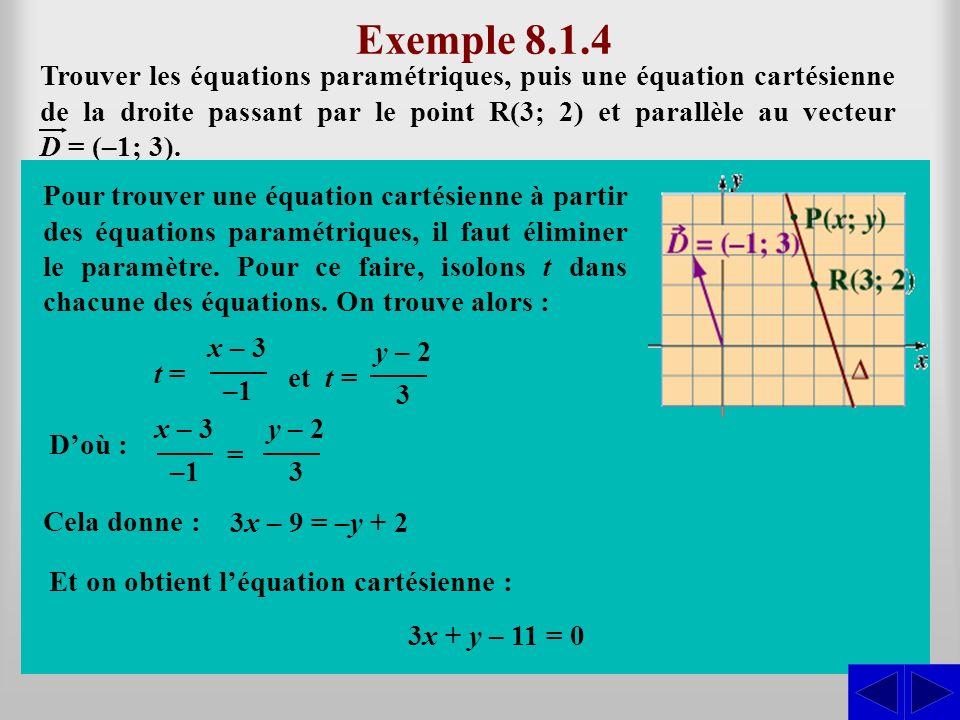 (x; y) = (3; 2) + t (–1; 3) = (3 – t; 2 + 3t)