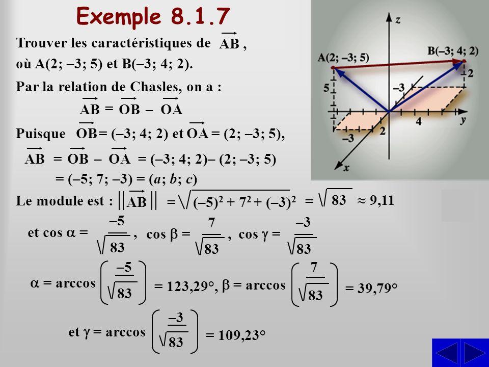 Exemple 8.1.7 S Trouver les caractéristiques de AB ,