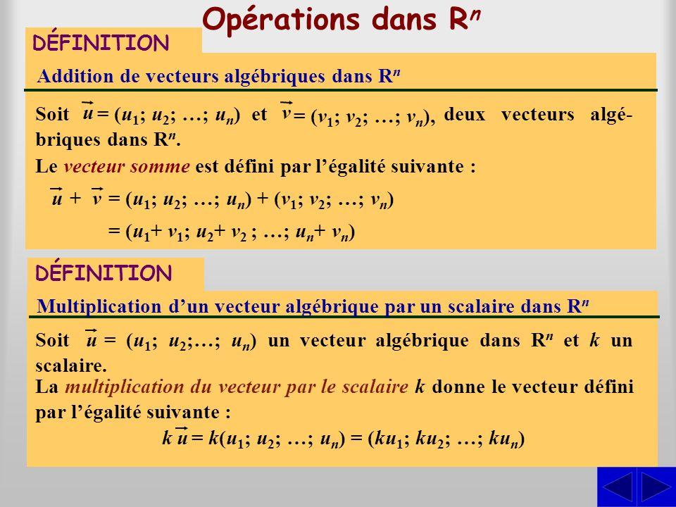 Opérations dans Rn S DÉFINITION