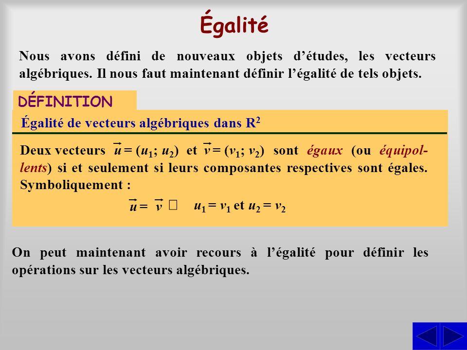 Égalité Nous avons défini de nouveaux objets d'études, les vecteurs algébriques. Il nous faut maintenant définir l'égalité de tels objets.