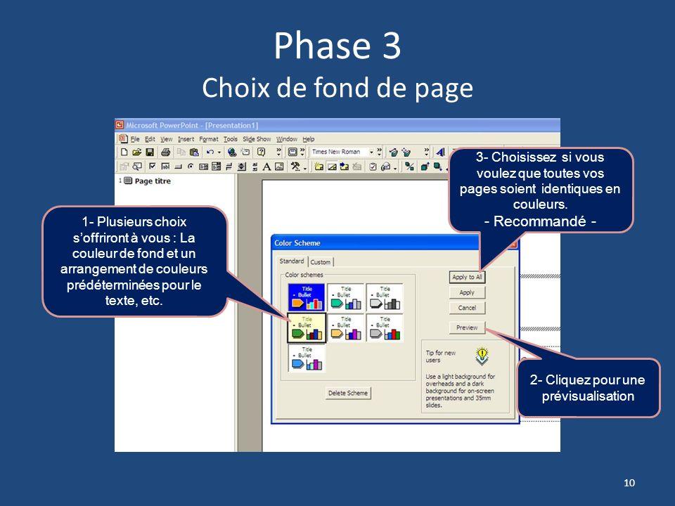 Phase 3 Choix de fond de page