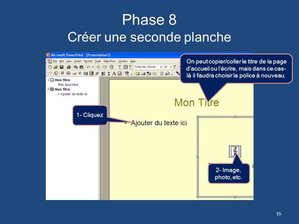 Phase 8 Créer une seconde planche