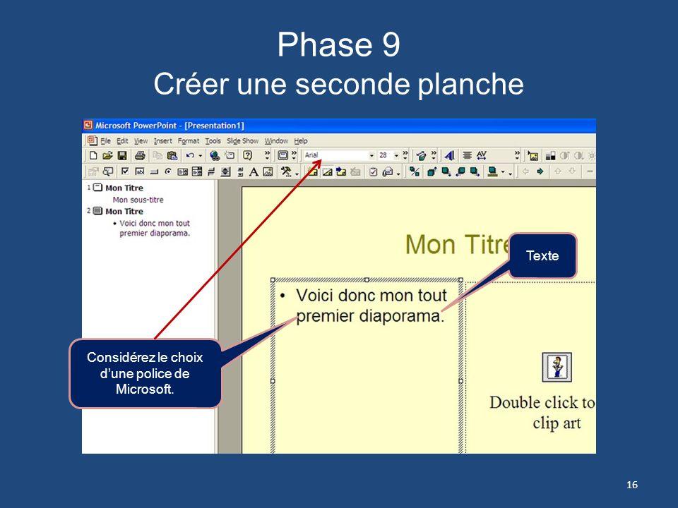 Phase 9 Créer une seconde planche