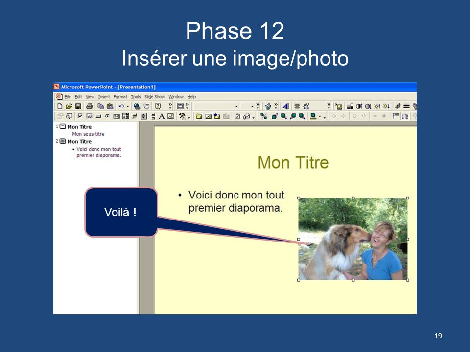 Phase 12 Insérer une image/photo