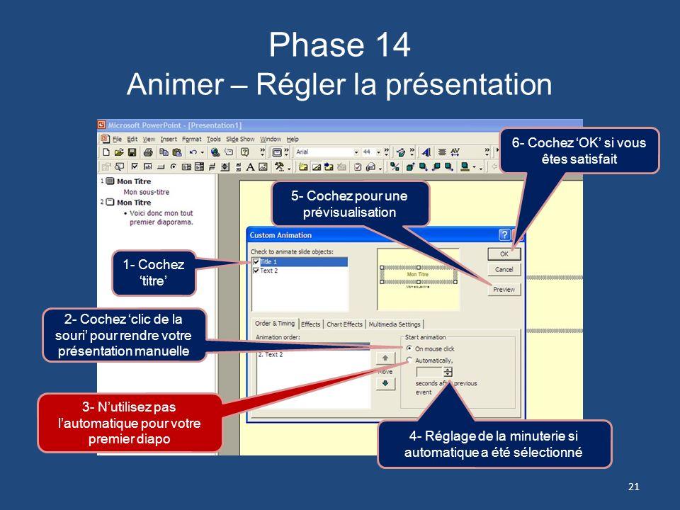 Phase 14 Animer – Régler la présentation