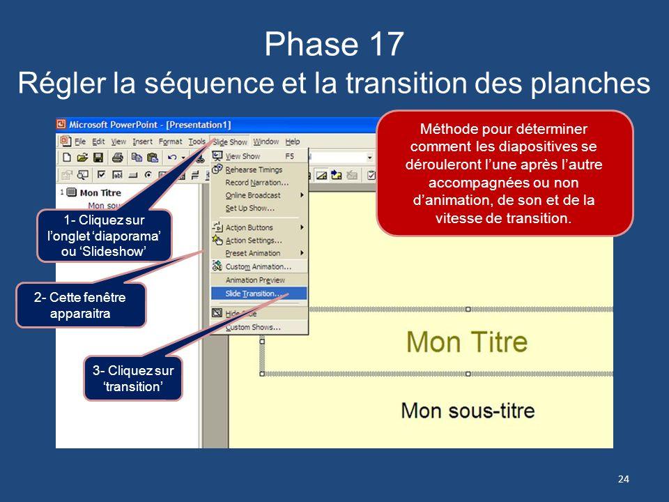 Phase 17 Régler la séquence et la transition des planches
