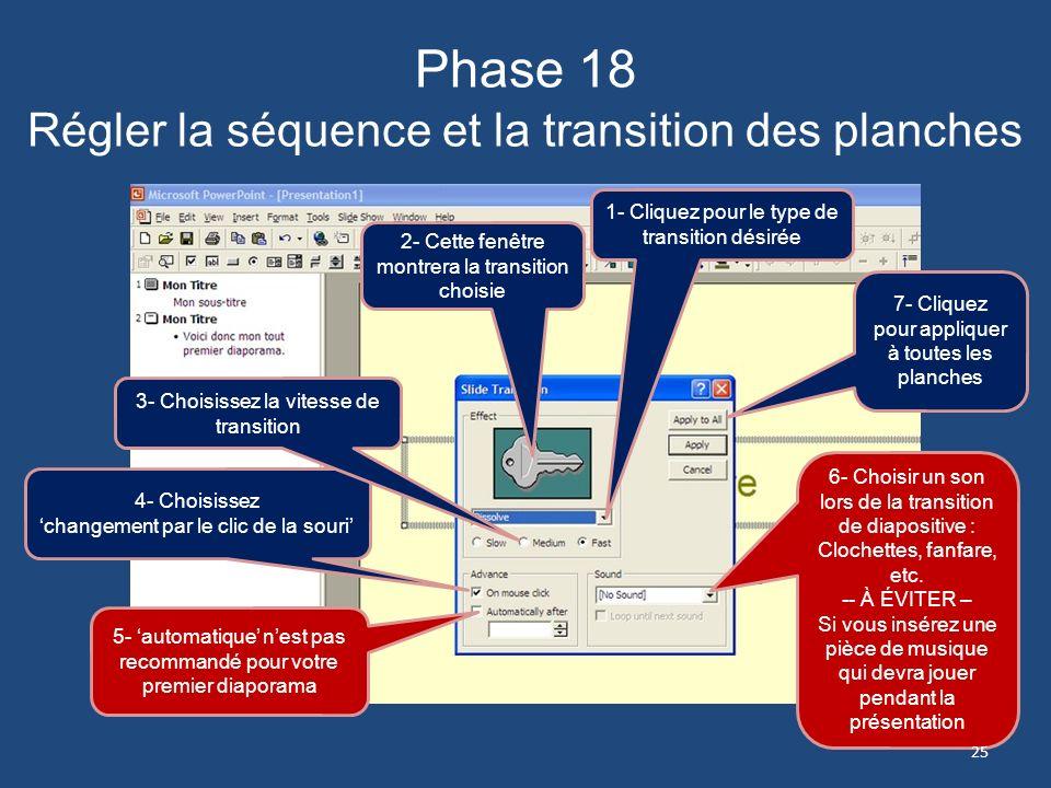 Phase 18 Régler la séquence et la transition des planches