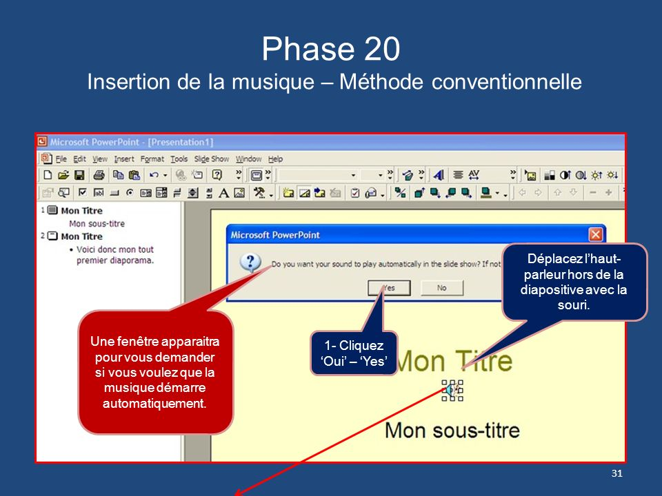 Phase 20 Insertion de la musique – Méthode conventionnelle