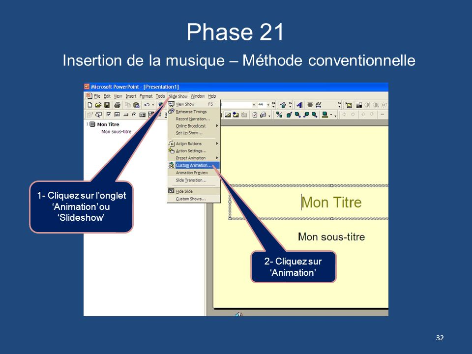 Phase 21 Insertion de la musique – Méthode conventionnelle