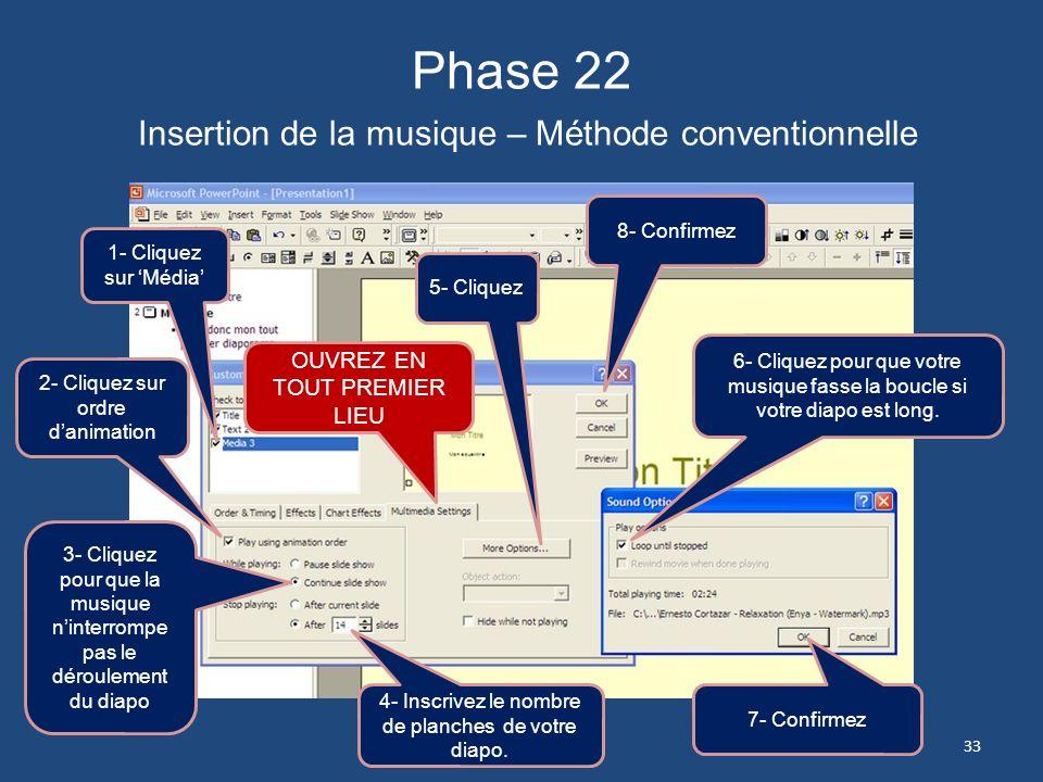 Phase 22 Insertion de la musique – Méthode conventionnelle
