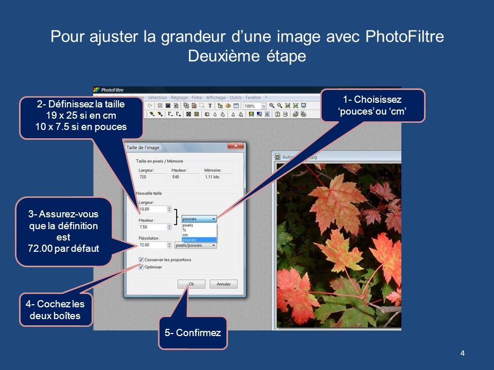Pour ajuster la grandeur d'une image avec PhotoFiltre Deuxième étape