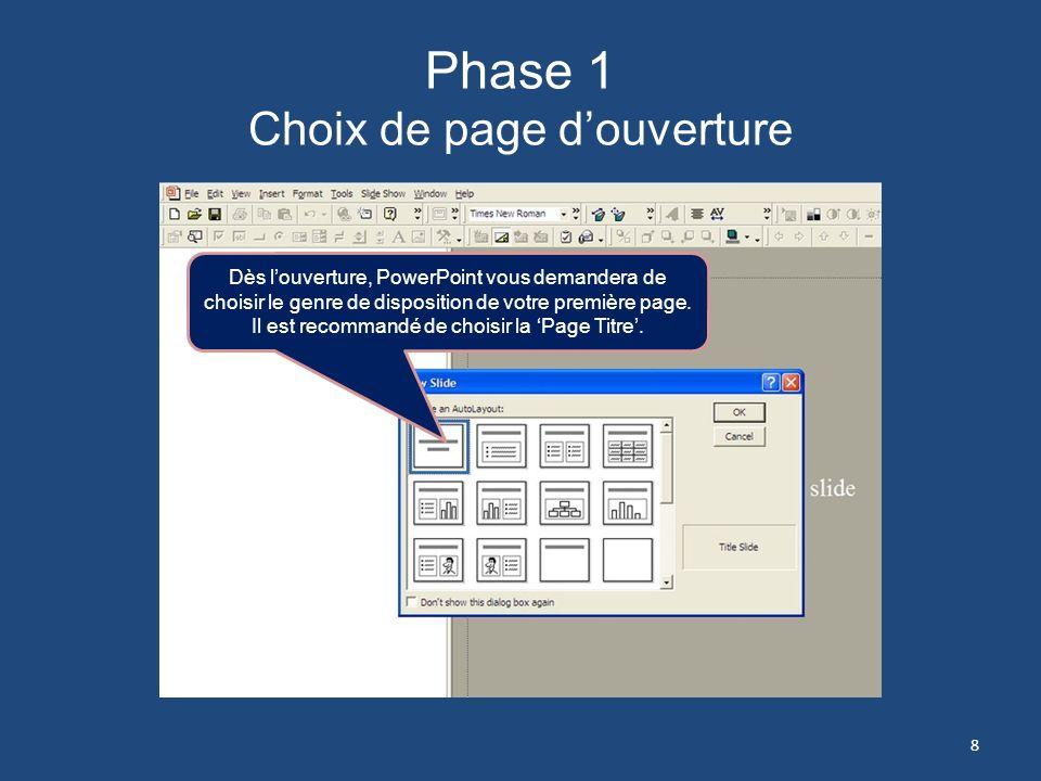 Phase 1 Choix de page d'ouverture