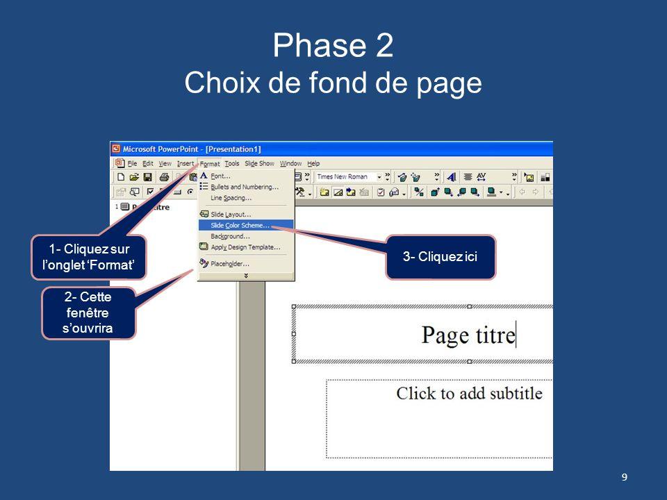 Phase 2 Choix de fond de page