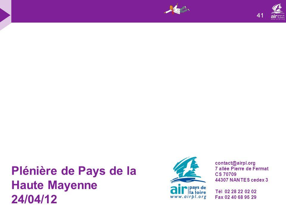 Plénière de Pays de la Haute Mayenne 24/04/12