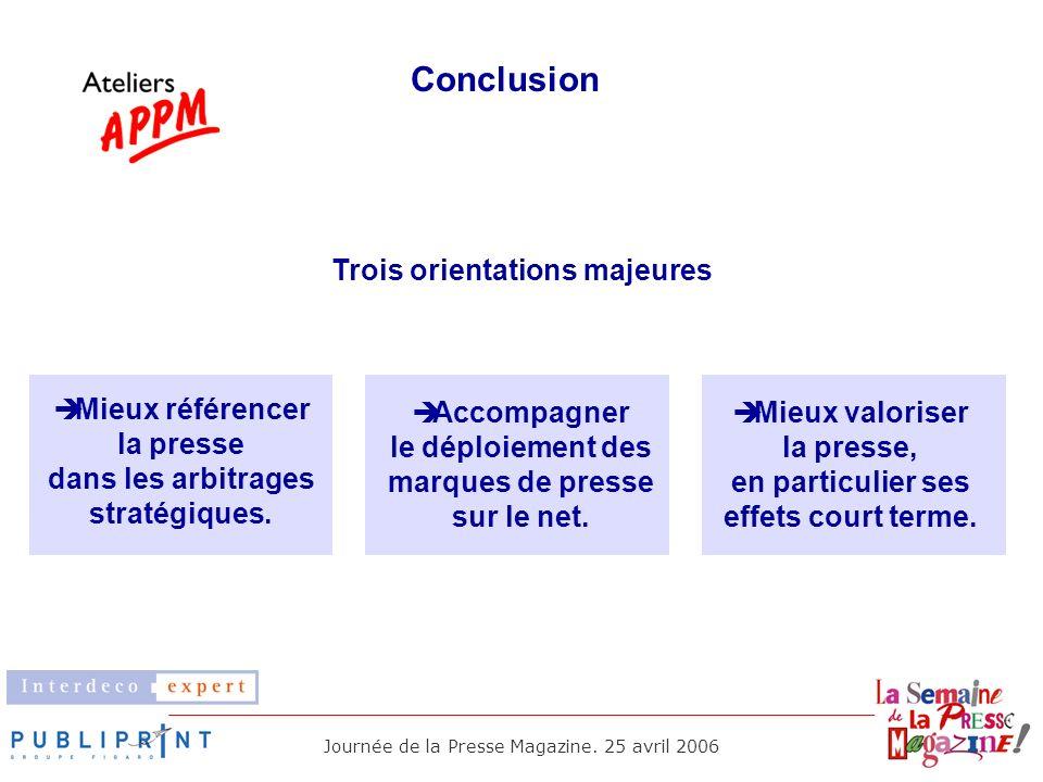 Conclusion Trois orientations majeures