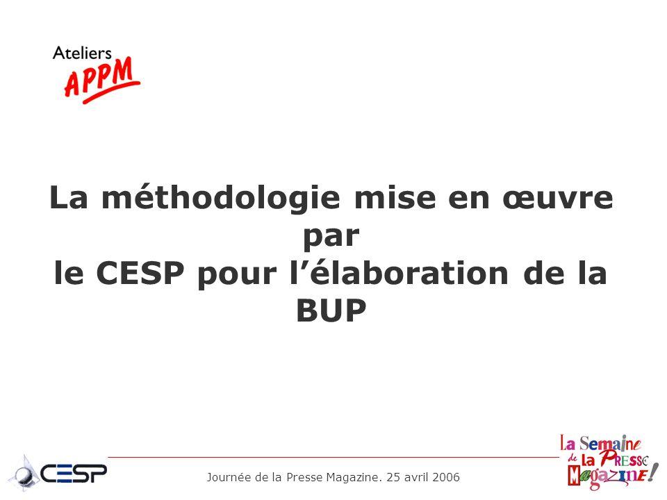 La méthodologie mise en œuvre par le CESP pour l'élaboration de la BUP