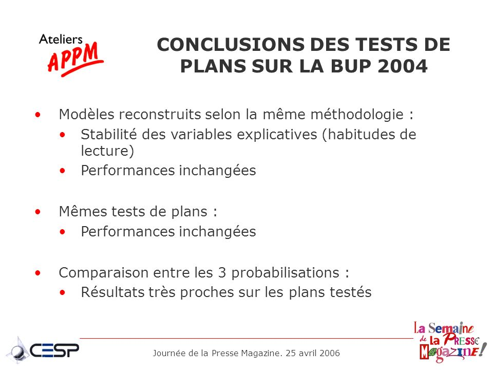 CONCLUSIONS DES TESTS DE PLANS SUR LA BUP 2004