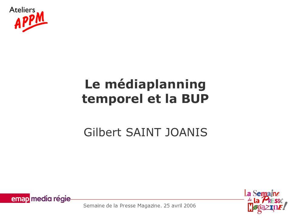Le médiaplanning temporel et la BUP