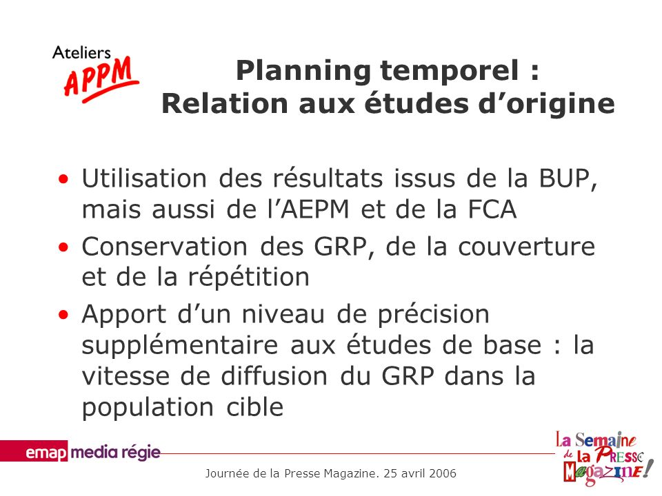 Planning temporel : Relation aux études d'origine