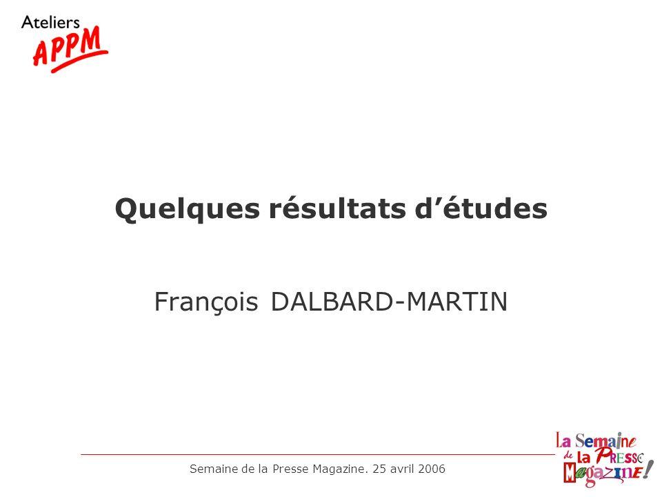 Quelques résultats d'études