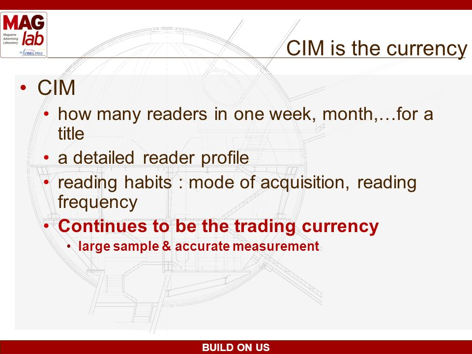 CIM is the currency CIM. how many readers in one week, month,…for a title. a detailed reader profile.