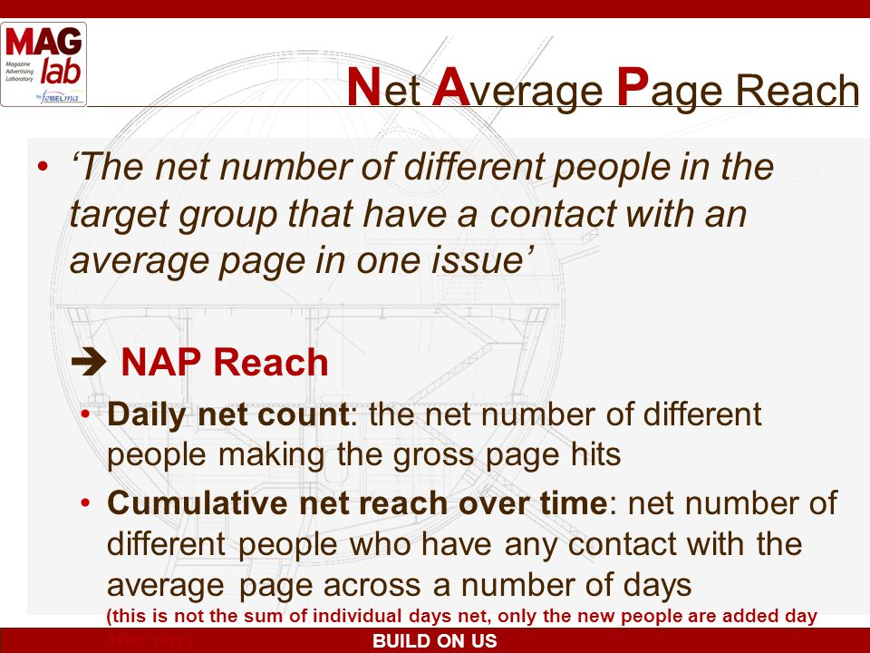 Net Average Page Reach 'The net number of different people in the target group that have a contact with an average page in one issue'