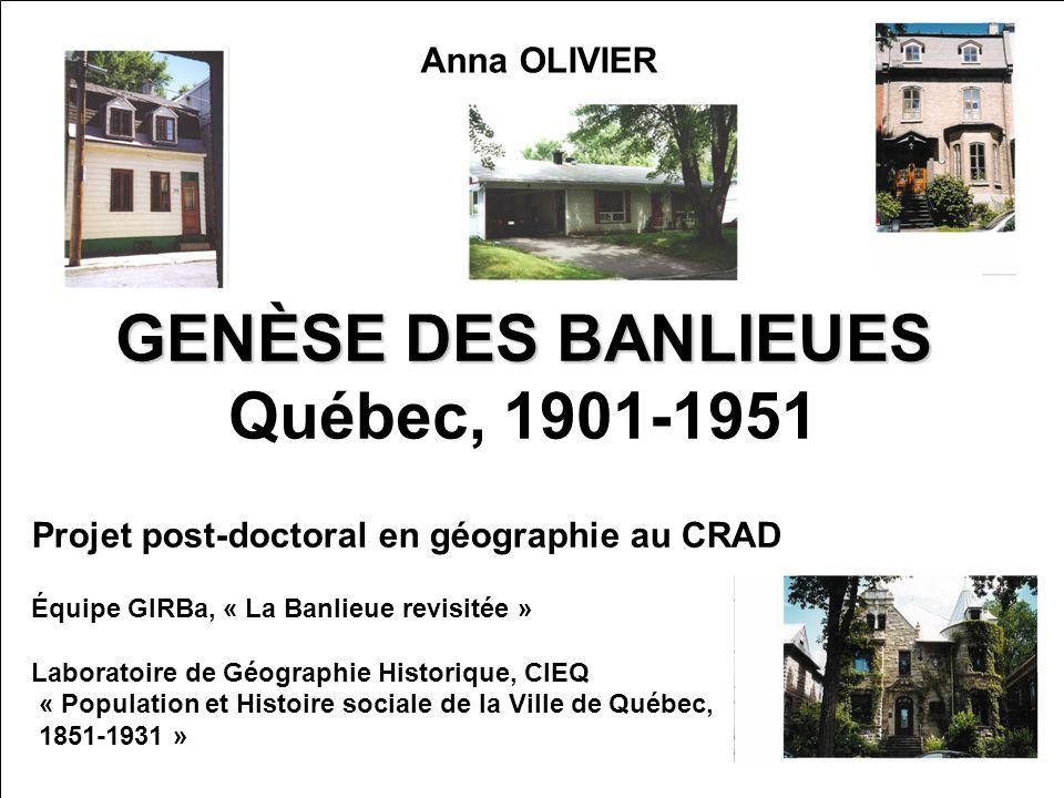 GENÈSE DES BANLIEUES Québec, 1901-1951