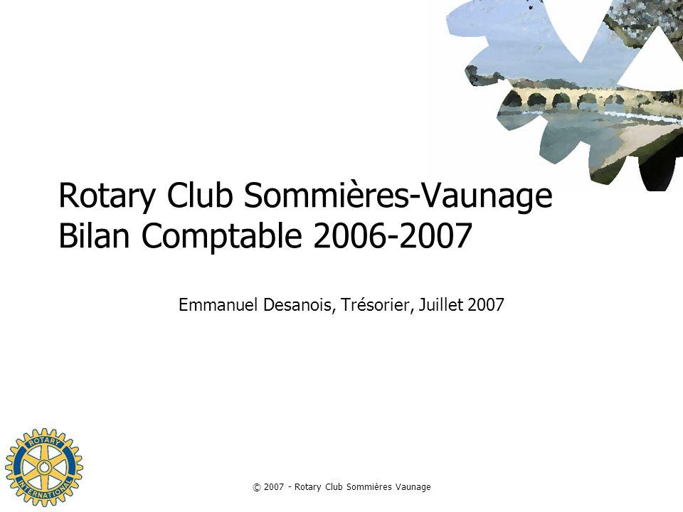Rotary Club Sommières-Vaunage Bilan Comptable 2006-2007
