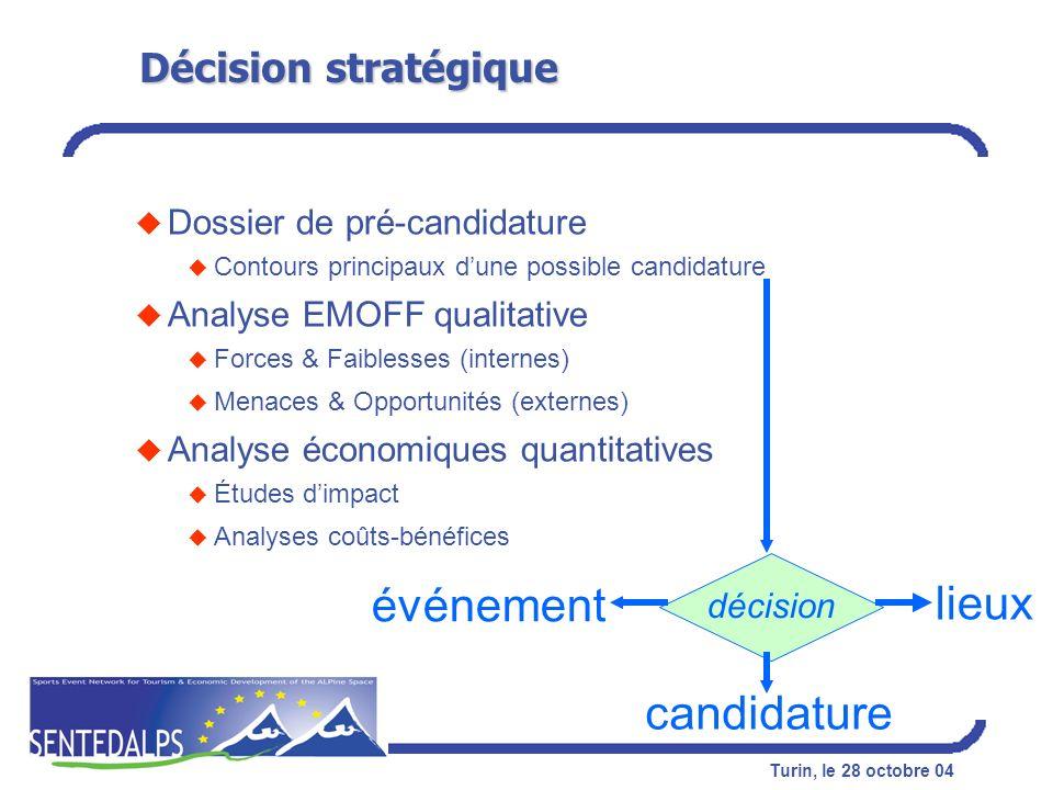 événement lieux candidature Décision stratégique