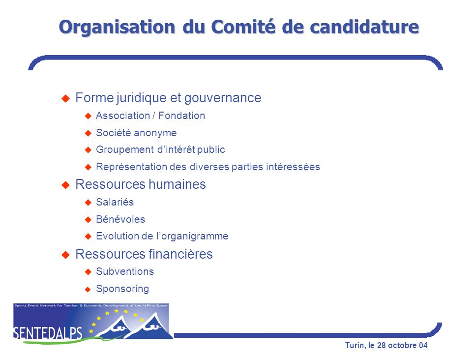 Organisation du Comité de candidature