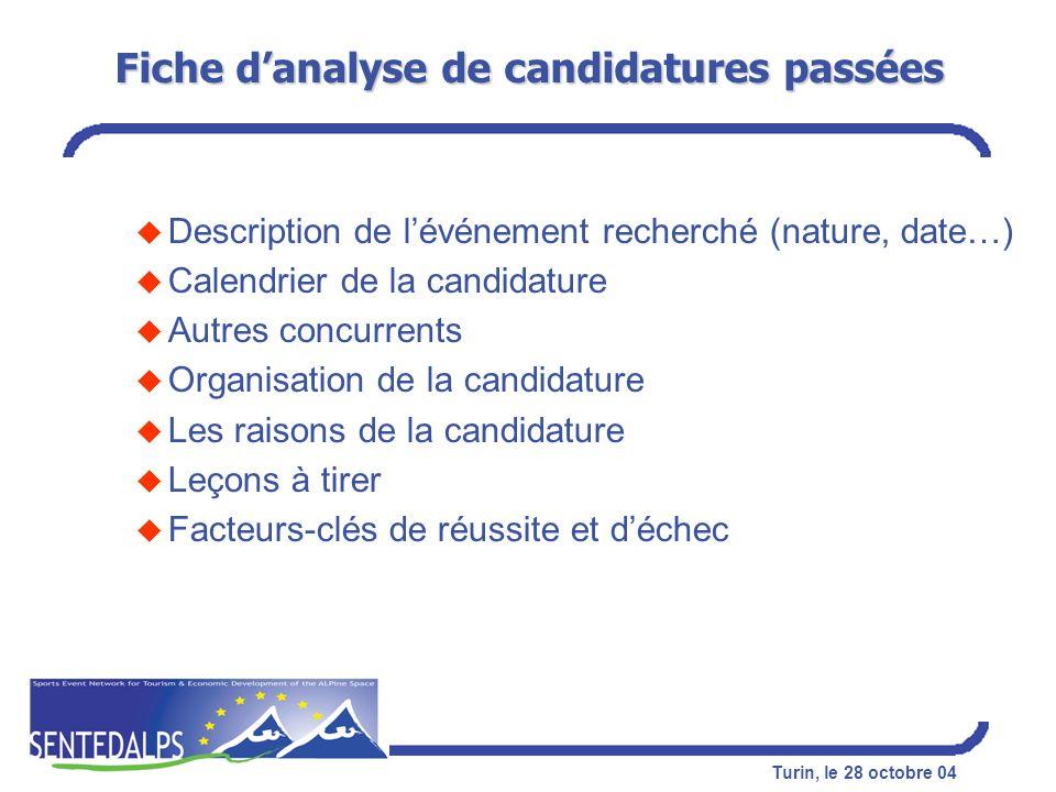 Fiche d'analyse de candidatures passées