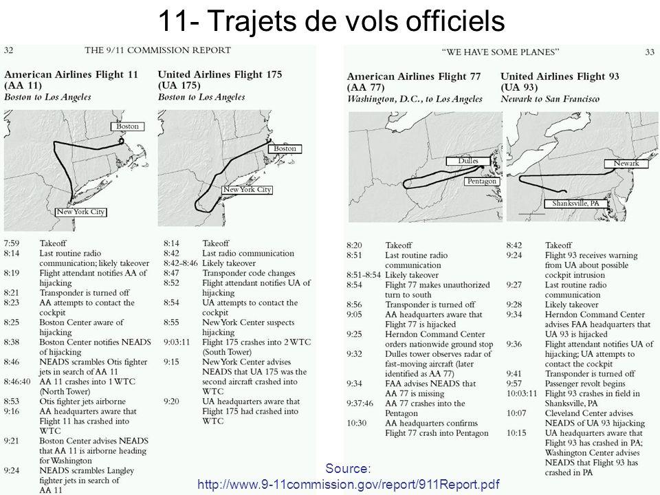 11- Trajets de vols officiels