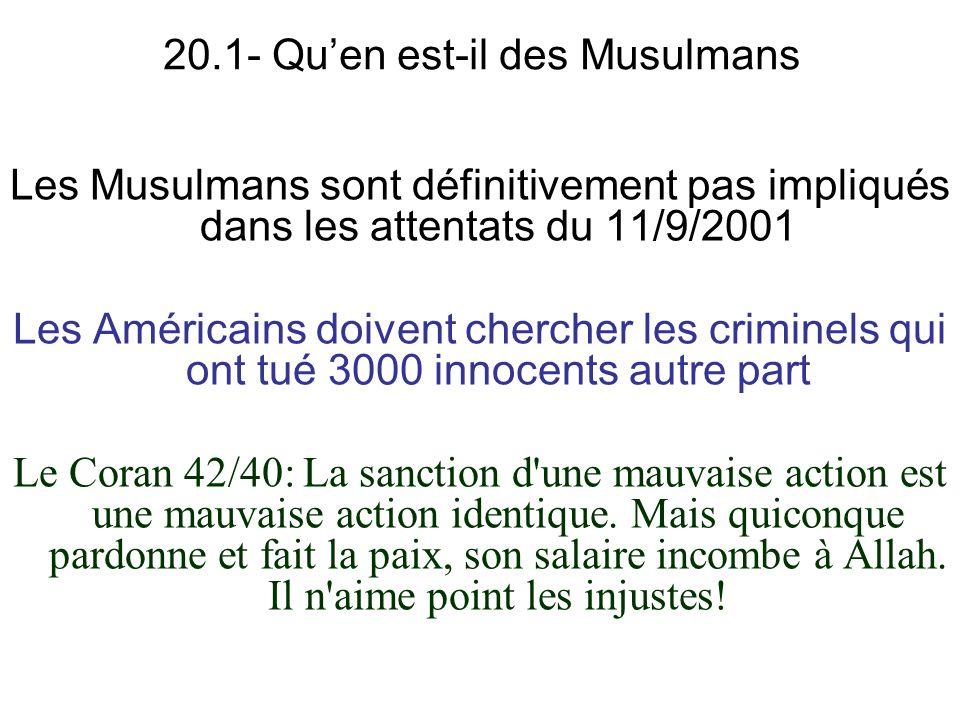 20.1- Qu'en est-il des Musulmans