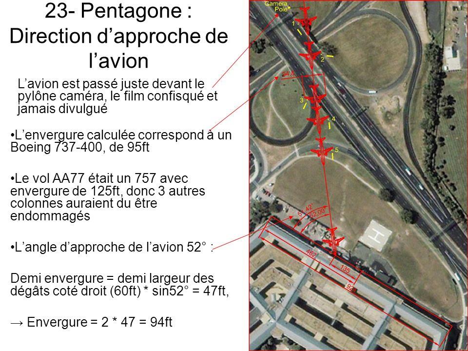 23- Pentagone : Direction d'approche de l'avion