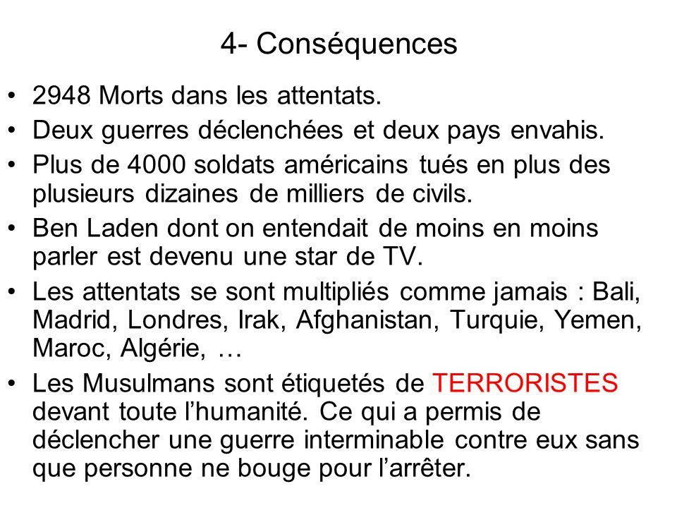 4- Conséquences 2948 Morts dans les attentats.