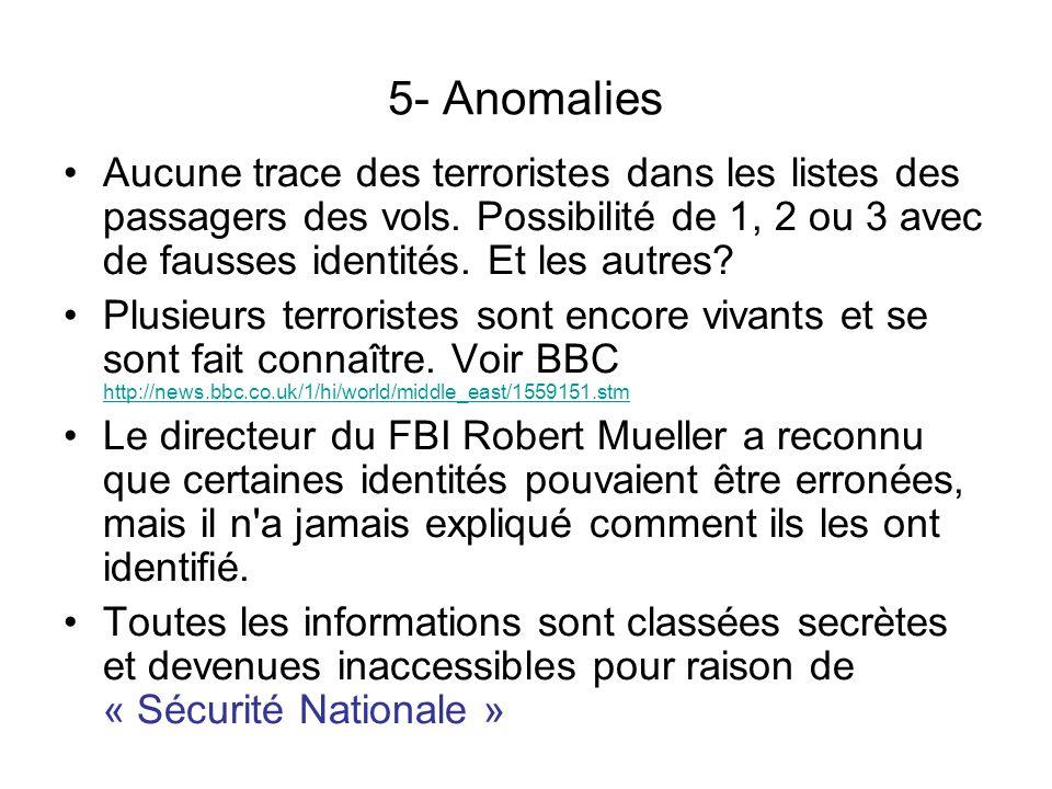 5- Anomalies Aucune trace des terroristes dans les listes des passagers des vols. Possibilité de 1, 2 ou 3 avec de fausses identités. Et les autres