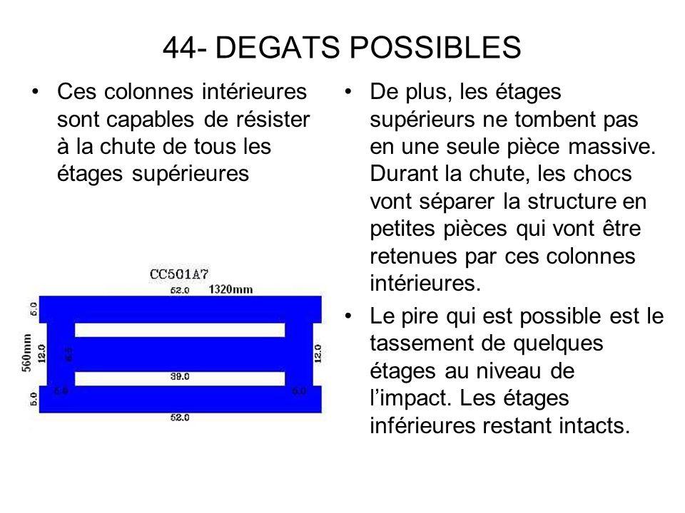 44- DEGATS POSSIBLES Ces colonnes intérieures sont capables de résister à la chute de tous les étages supérieures.