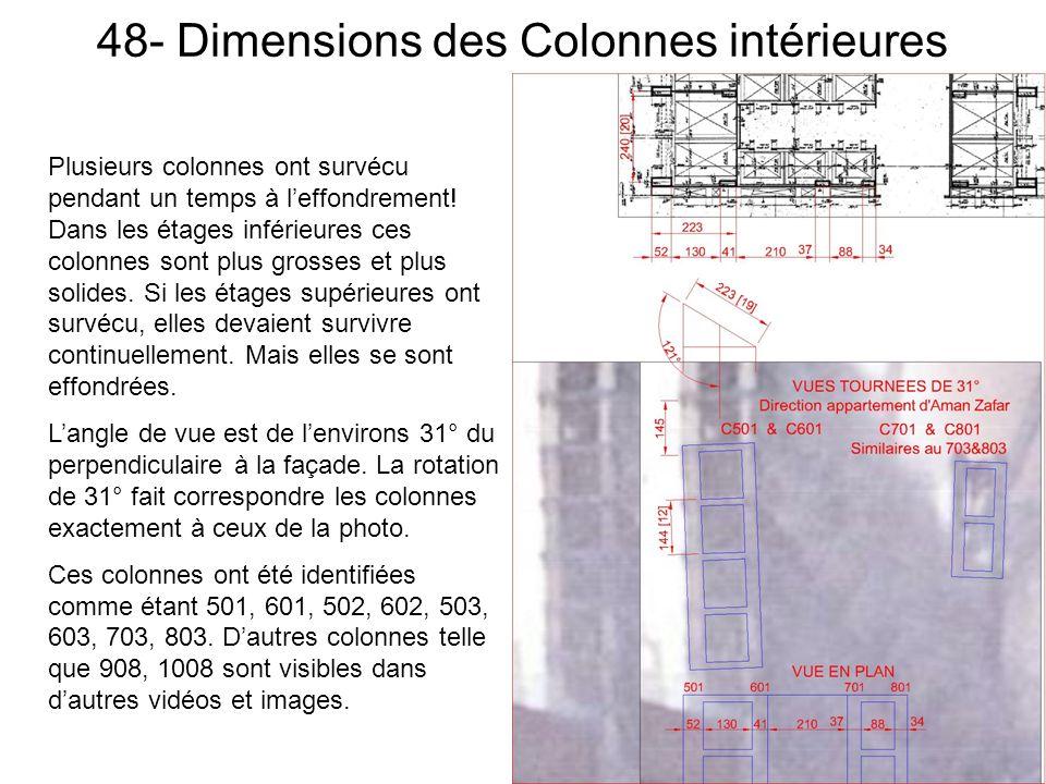 48- Dimensions des Colonnes intérieures