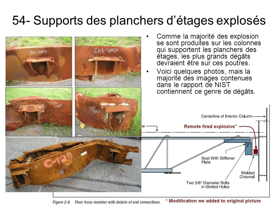 54- Supports des planchers d'étages explosés