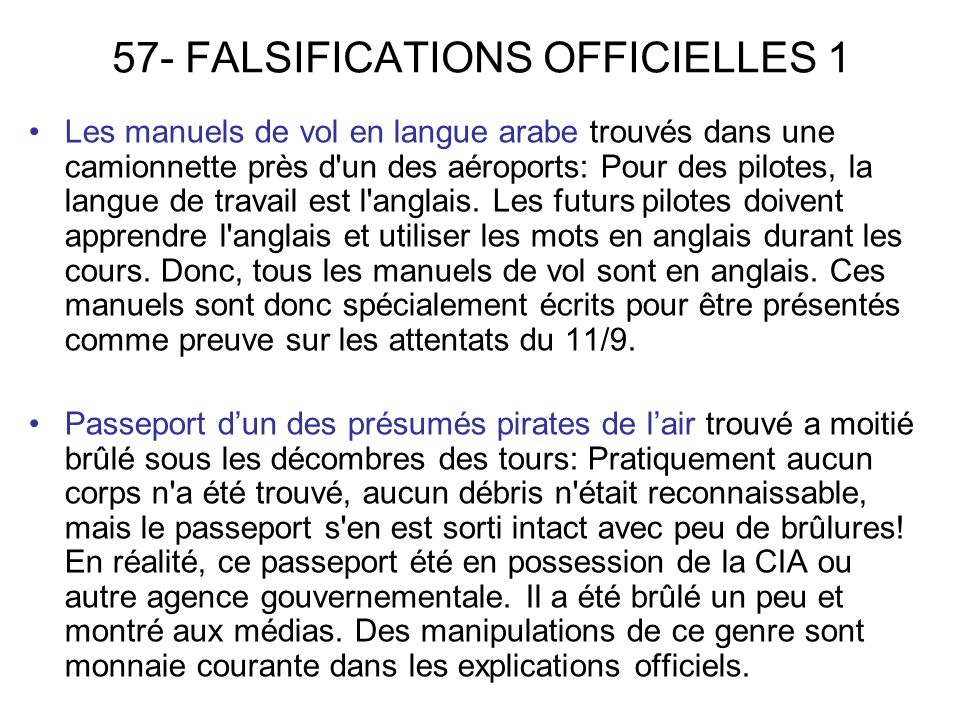 57- FALSIFICATIONS OFFICIELLES 1