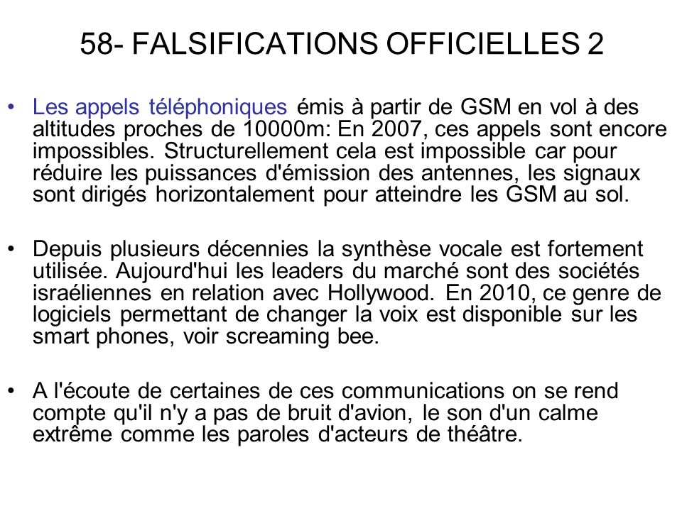 58- FALSIFICATIONS OFFICIELLES 2