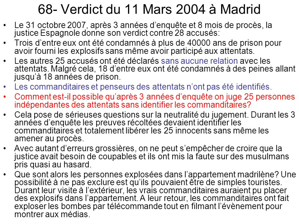 68- Verdict du 11 Mars 2004 à Madrid