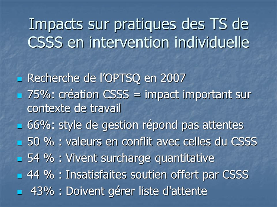 Impacts sur pratiques des TS de CSSS en intervention individuelle