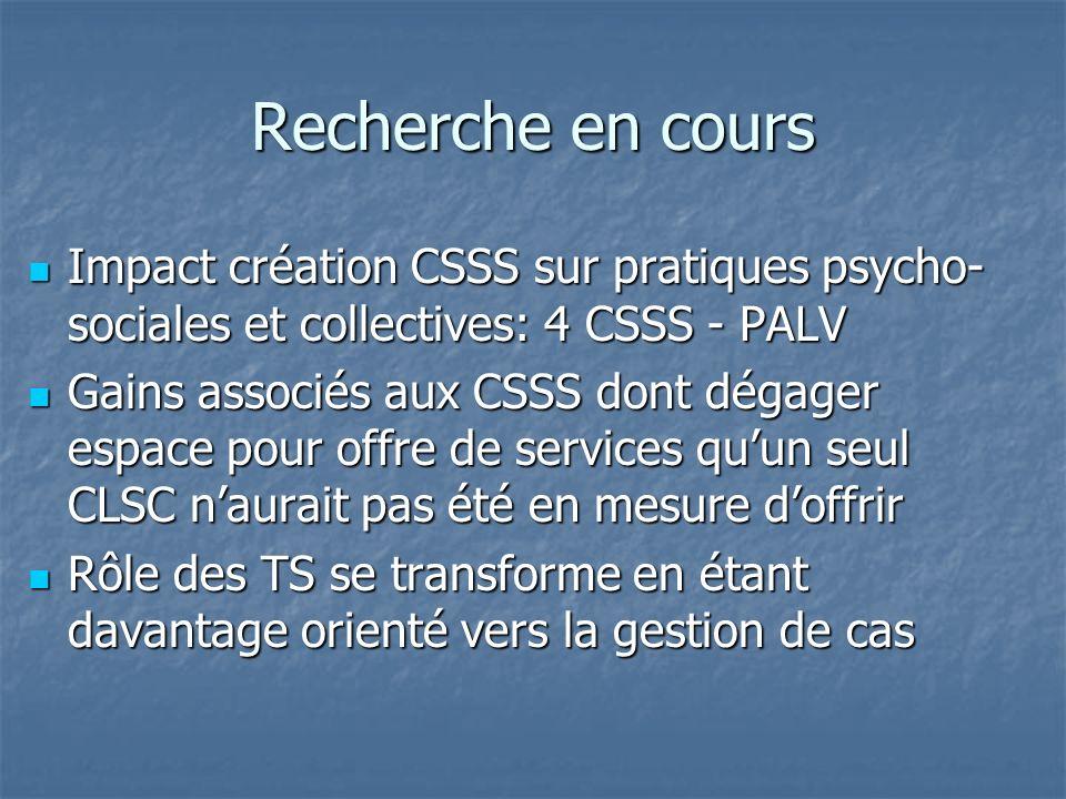 Recherche en cours Impact création CSSS sur pratiques psycho-sociales et collectives: 4 CSSS - PALV.