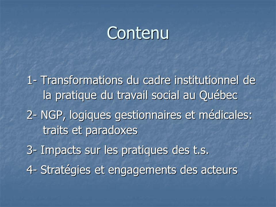 Contenu 1- Transformations du cadre institutionnel de la pratique du travail social au Québec.