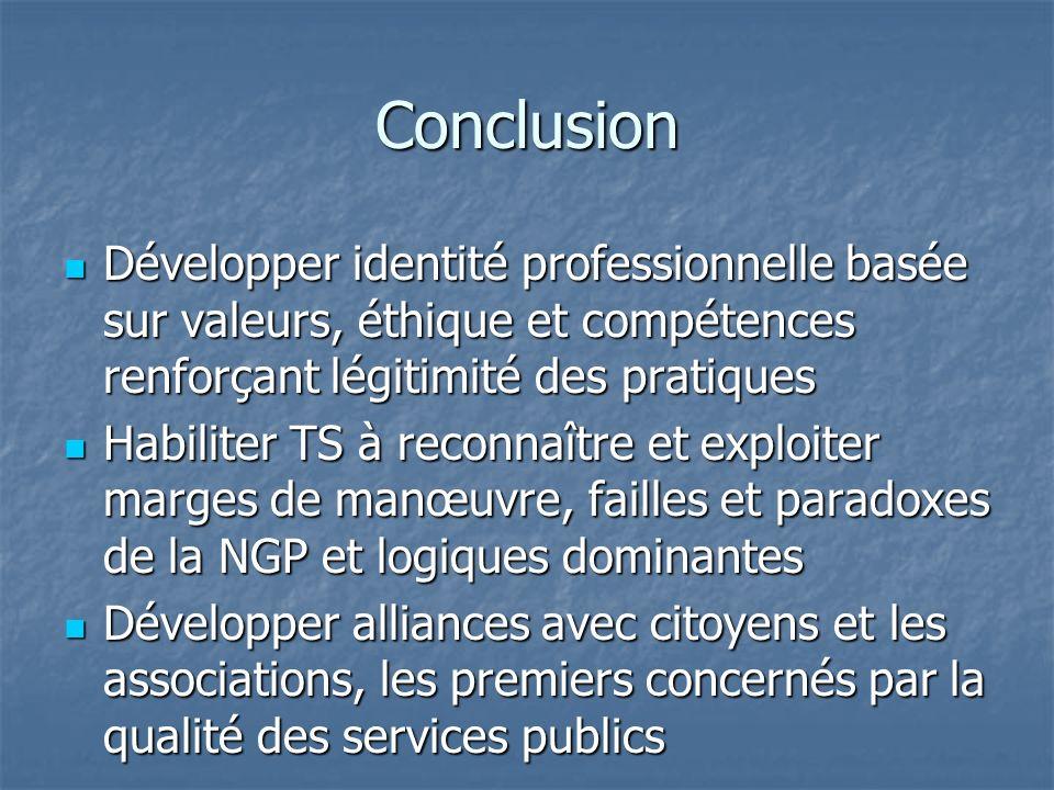Conclusion Développer identité professionnelle basée sur valeurs, éthique et compétences renforçant légitimité des pratiques.