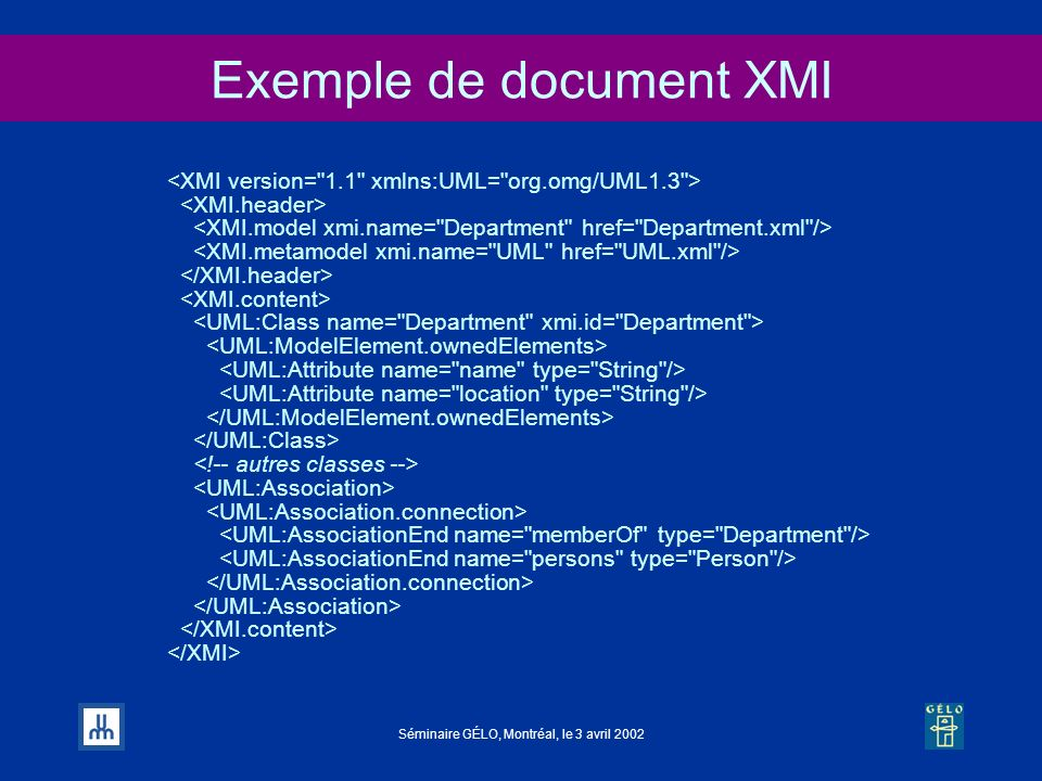 Exemple de document XMI