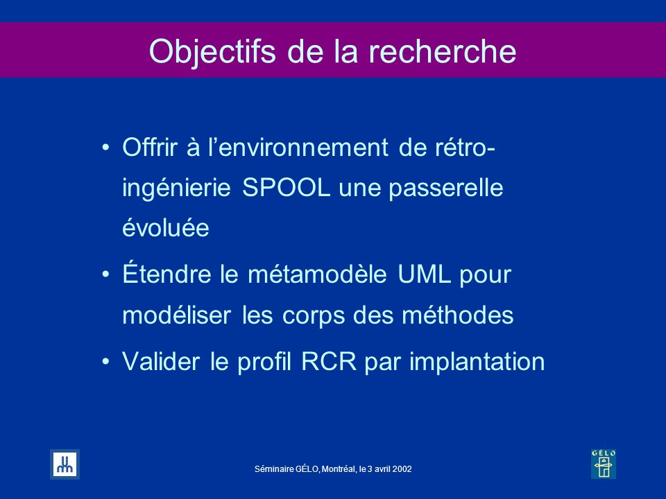 Objectifs de la recherche